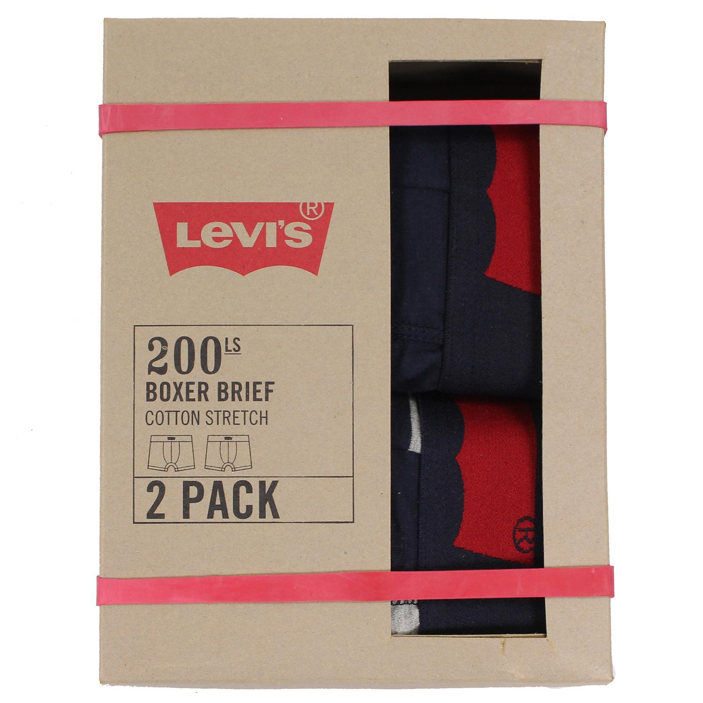 美國百分百【全新真品】Levis 四角褲 CK 內褲 舒適 平口褲 男褲 兩件裝 條紋 深藍 灰 L XL號