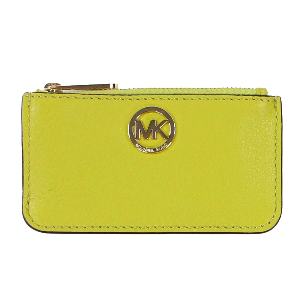 美國百分百【全新真品】MICHAEL KORS 女包 皮包 皮質 小包 MK 扁包 精品 皮夾 零錢包 蘋果綠 E650