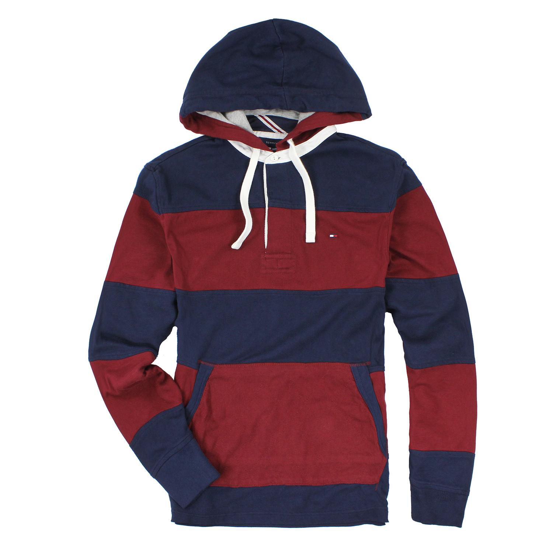 美國百分百【全新真品】Tommy Hilfiger 帽T 連帽 外套 夾克 TH 男 條紋 酒紅 深藍 S號 E765