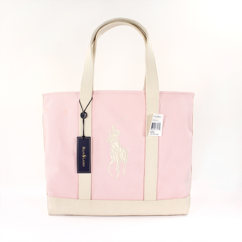 美國百分百【全新真品】Ralph Lauren 包包 RL 肩背包 托特包 Polo 大馬 Logo 粉紅 女 A469