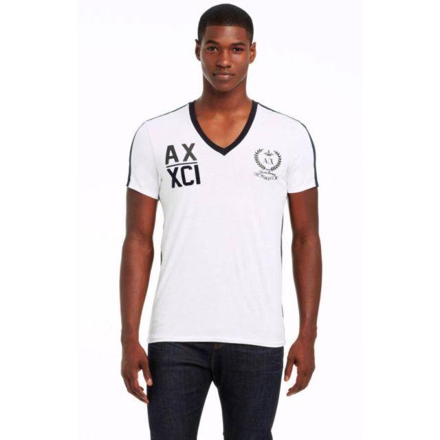 美國百分百【Armani Exchange】T恤 AX 短袖 上衣 logo V領 T-shirt 白 S M E824