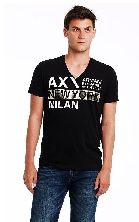 美國百分百【Armani Exchange】T恤 AX 短袖 上衣 logo V領 T-shirt 燙銀 M E825