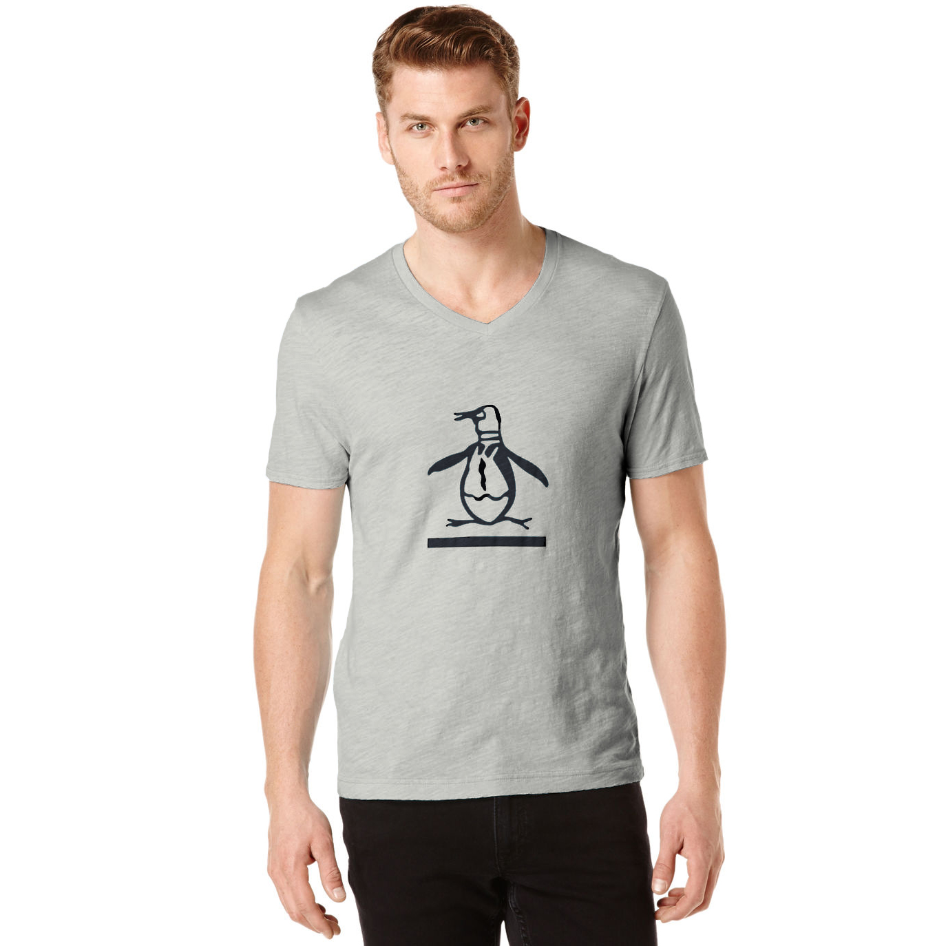 美國百分百【Penguin by Munsingwear】企鵝 男 T-shirt 灰色 V領 T恤 短袖 S E952