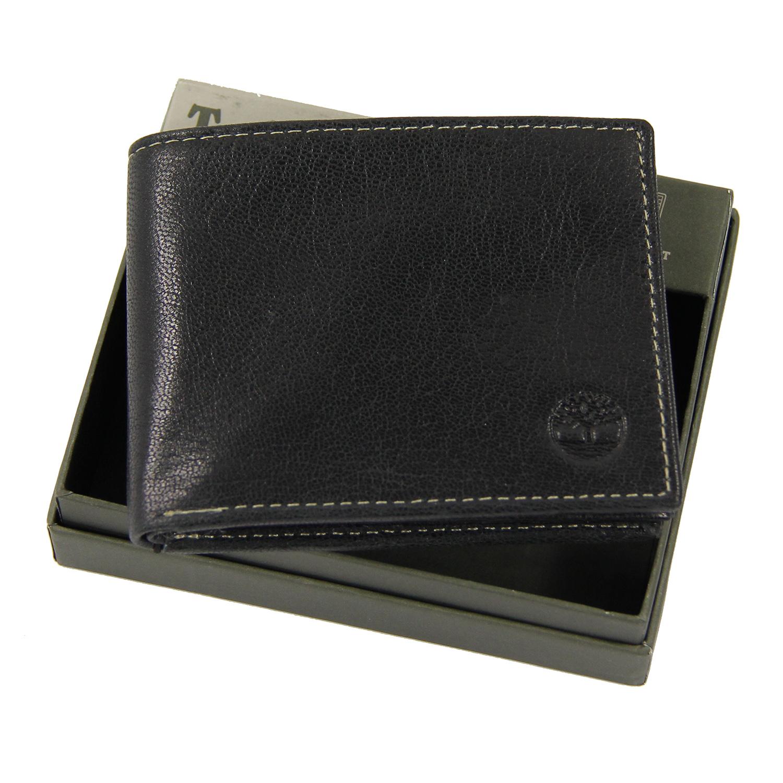 美國百分百【全新真品】Timberland 皮夾 短夾 錢包 皮包 黑色 真皮 經典 證件 鈔票夾 男用 B379