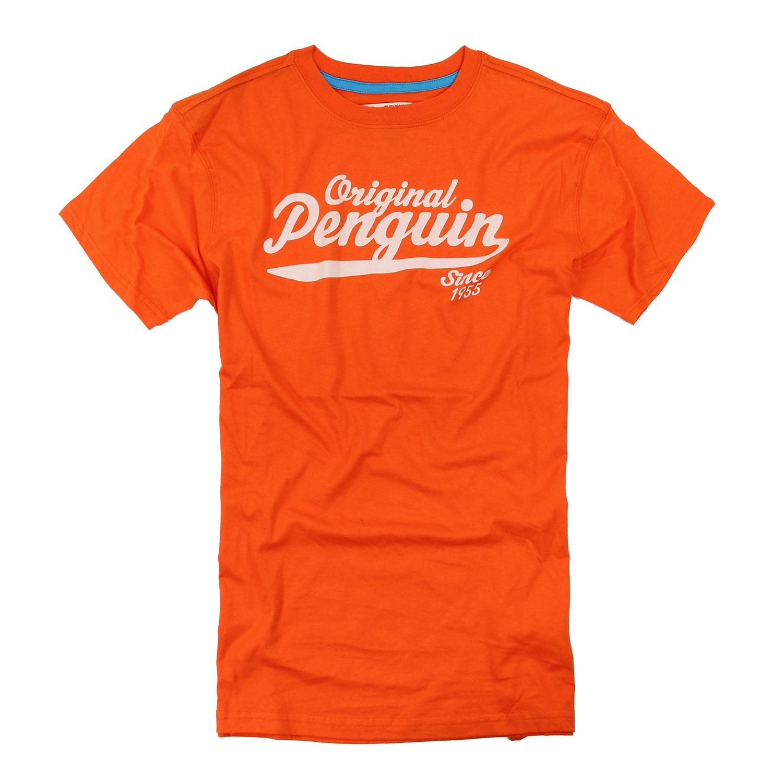 美國百分百【Penguin by Munsingwear】企鵝 男 T-shirt 橘色 T恤 短袖 XL F005