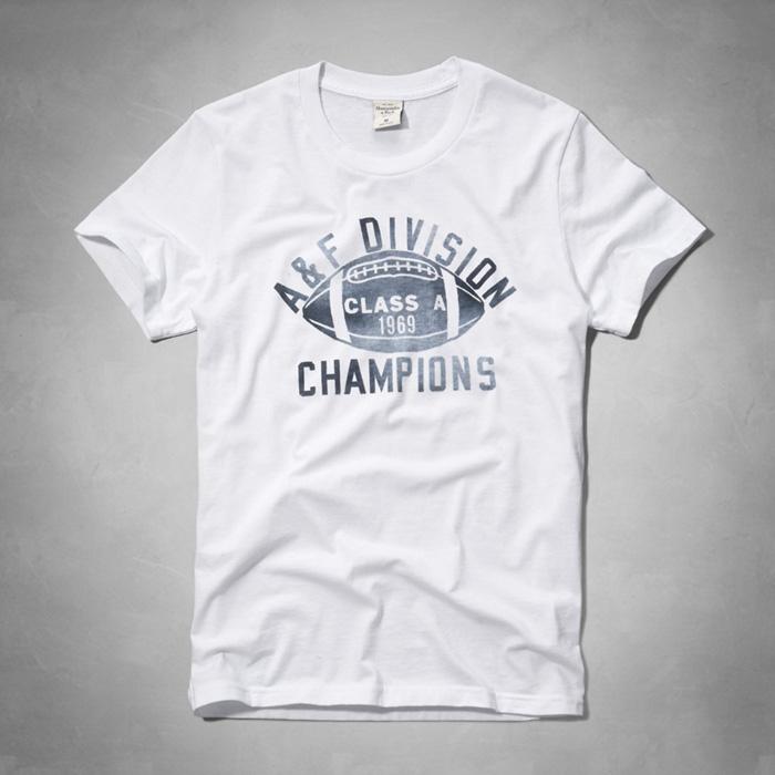 美國百分百【Abercrombie & Fitch】T恤 AF 短袖 上衣 T-shirt 麋鹿 白 橄欖球 F042
