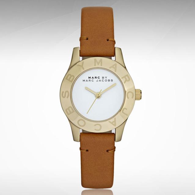 美國百分百【Marc by Marc Jacobs】配件 手錶 腕錶 皮革 設計 女錶 精品錶 金框 駝色錶帶 F082