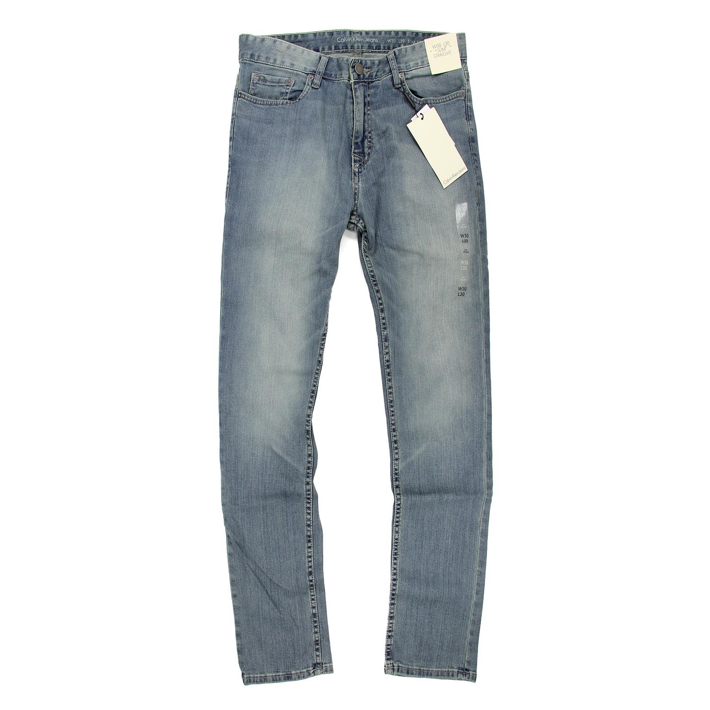 美國百分百【全新真品】Calvin Klein 牛仔褲 CK 休閒褲 長褲 單寧 男 合身 淺藍刷白 30腰 F124