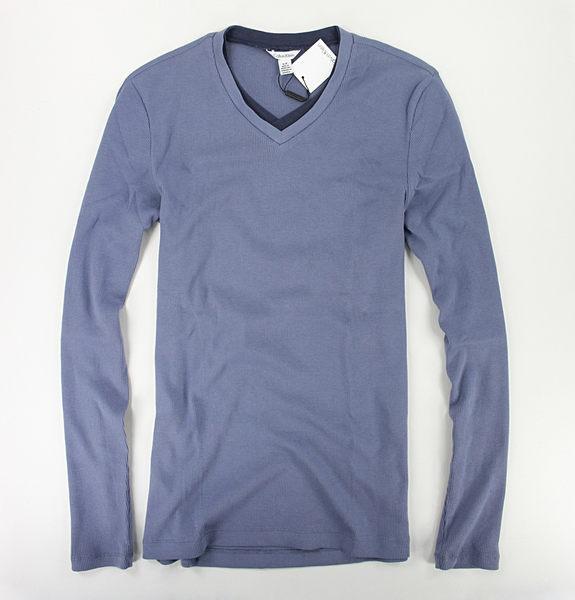 美國百分百【全新真品】Calvin Klein 假兩件 V領 長袖 針織 紫 素面 男 長T恤 Tshirt S號 CK 上衣