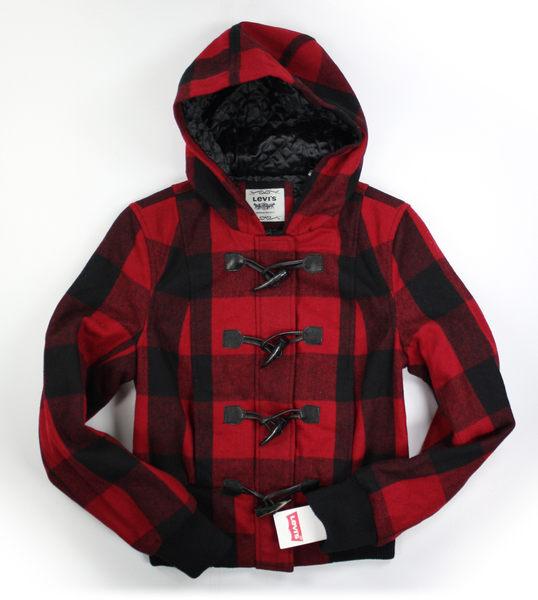 美國百分百【全新真品】Levis 女生 羊毛 連帽外套 保暖 夾克 厚實 紅色蘇格蘭 M號 超取免運