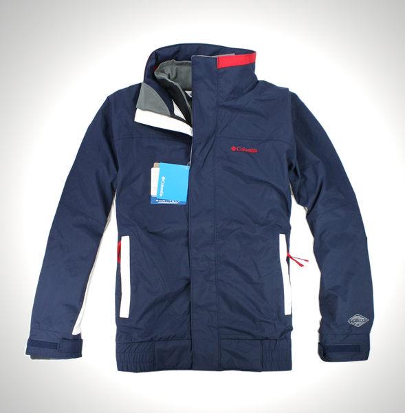 美國百分百【全新真品】Columbia 哥倫比亞 男 白藍 立領 外套 夾克 3 in 1 子母衣 2way 免運 L號