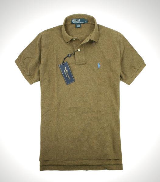 美國百分百【全新真品】Ralph Lauren 男 網眼 素面 Polo衫 短袖 棕色 水藍馬 RL Polo 免運 S號