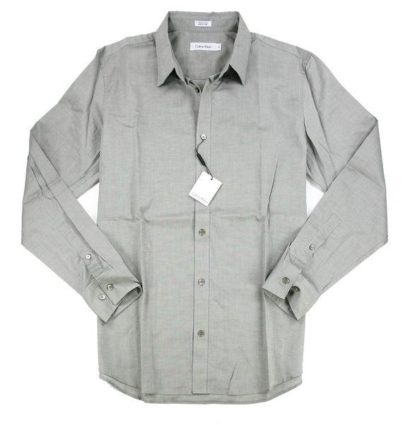 美國百分百【全新真品】calvin klein 型男 上班族 工作 素面 質感 長袖襯衫 灰色 CK L號
