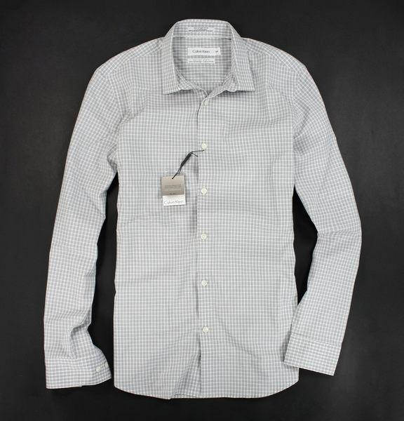 美國百分百【全新真品】Calvin Klein CK 灰格紋 襯衫 男 長袖 上衣 商務 工作 上班 窄版 S號
