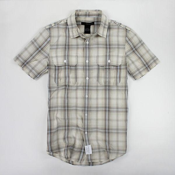 美國百分百【全新真品】Calvin Klein CK 男生 短袖 襯衫 米色系 格紋 上衣 S 號 板橋自取