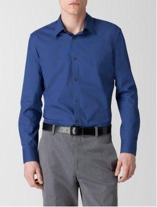 美國百分百【全新真品】Calvin Klein CK 藍色 質感 滑面 上班 工作 型男 素面 長袖 襯衫 M XL號
