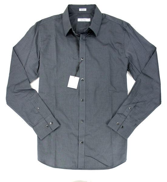 美國百分百【全新真品】Calvin Klein CK 上班 男款 上衣 鐵灰 長袖 襯衫 100%棉質 M號 超取