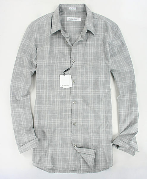 美國百分百【全新真品】Calvin Klein CK 純棉質 格紋 長袖襯衫 男款 上衣 淺灰色 S號 板橋門市