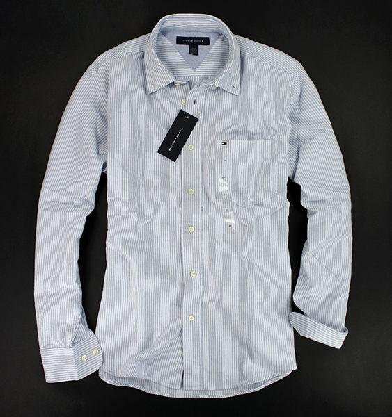 美國百分百【全新真品】Tommy Hilfiger TH 牛津布 質感 男款 條紋 長袖 襯衫 淺藍 口袋 XS S 號