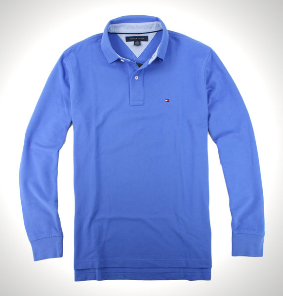 美國百分百【全新真品】Tommy Hilfiger TH 長袖 POLO衫 上衣 水藍 紳士 雅痞 素面 Logo 免運 M號