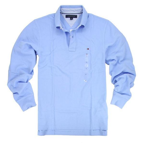 美國百分百【全新真品】Tommy Hilfiger TH 男生 長袖 網眼 POLO衫 淡藍 上衣 S號 超取免運