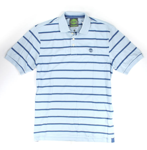 美國百分百【全新真品】Timberland 男生 休閒 POOL衫 網眼 短袖 上衣 藍 條紋 S號 C290