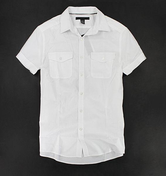 美國百分百【全新真品】Kenneth Cole KC 型男 高質感 絲光 短袖 白襯衫 上衣 S號 板橋門市 C198