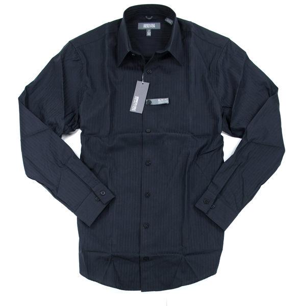美國百分百【全新真品】Kenneth Cole KC 型男 上班族 條紋 長袖襯衫 slim fit 質感 黑色 上衣 C551