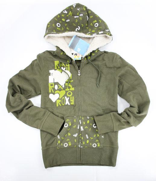 美國百分百【全新真品】ROXY 英文字 絨毛愛心 墨綠色 女生 外套 外衣 帽T S M號 美國帶回