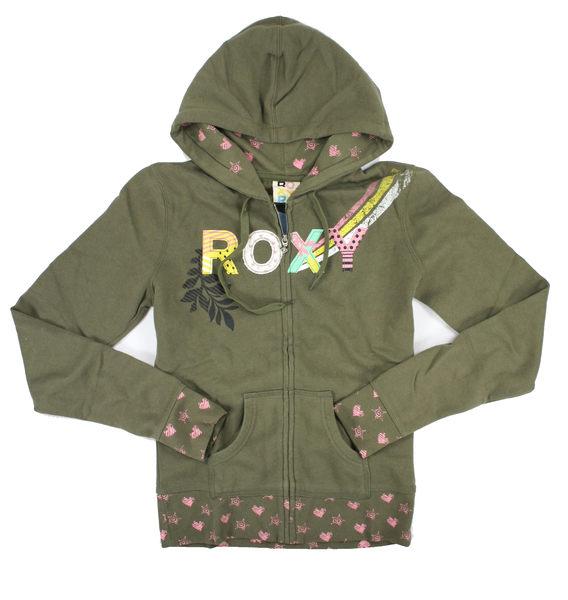 美國百分百【全新真品】美國 ROXY 愛心 草綠色 女生 春天 純棉 薄款 休閒 外套 帽T 外衣 M號 C773