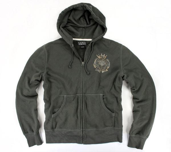 美國百分百【全新真品】Lucky Brand 男款 棉質 外套 長袖 上衣 綠色 帽T 棉帽 夾克 L號 C029