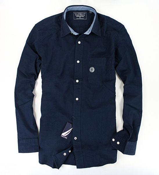 美國百分百【全新真品】Nautica 帆船 口袋 加厚 棉質 長袖 素面 襯衫 上衣 深藍色 男 S M號