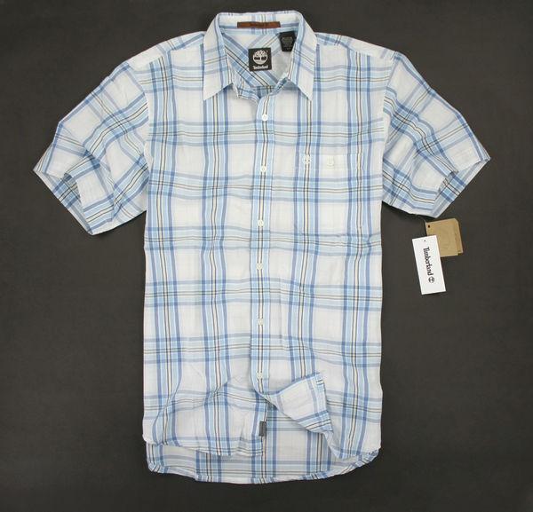 美國百分百【全新真品】Timberland 春夏上衣 型男穿搭 格紋 短袖 襯衫 S M 號 美國寄件