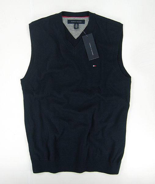 美國百分百【全新真品】Tommy Hilfiger TH 男 V領 素面 針織 背心 外搭 棉質 上衣 深藍 S號 C087
