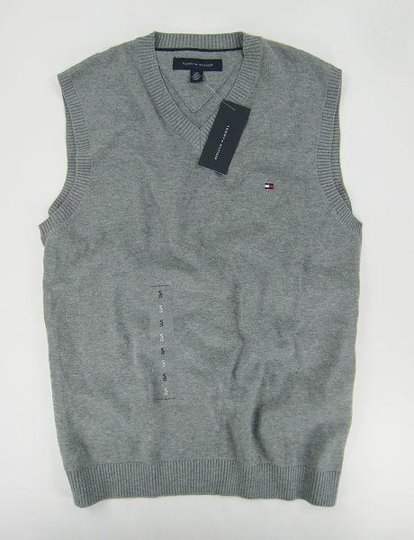 美國百分百【全新真品】Tommy Hilfiger TH 男 V領 素面 針織 背心 外搭 棉質 上衣 灰色 S號 C087