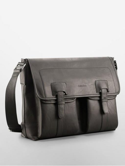 美國百分百【全新真品】Calvin Klein CK 男包 公事包 郵差包 側背 肩背 真皮 限量款 筆電 黑色 E907