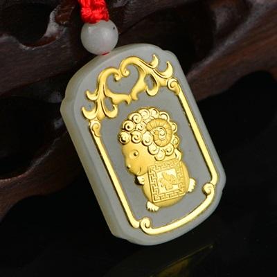 金鑲玉項鍊和闐玉吊墜-可愛小羊洋洋得意生日情人節禮物男女飾品73gf22【獨家進口】【米蘭精品】