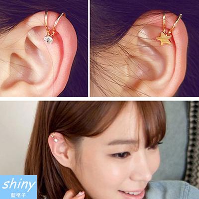 【20A61】shiny藍格子-清新可愛.氣質可愛單邊耳骨夾無耳洞耳環