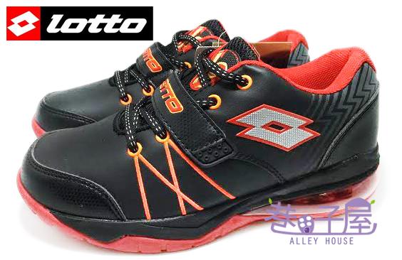 【巷子屋】義大利第一品牌-LOTTO樂得 男童雷神加長型彈力氣墊籃球鞋 [2580] 黑紅 超值價$590