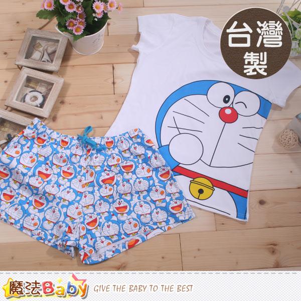 魔法Baby台灣製哆啦A夢正版中大女童短袖居家套裝 k41590