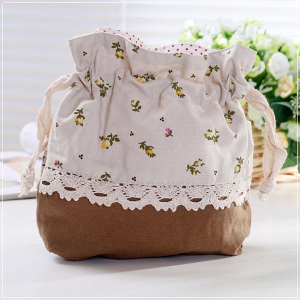 魔法Baby~日本風長方型底拼布束口袋(咖啡/碎花)~孩童&大人用品~時尚設計~f0071