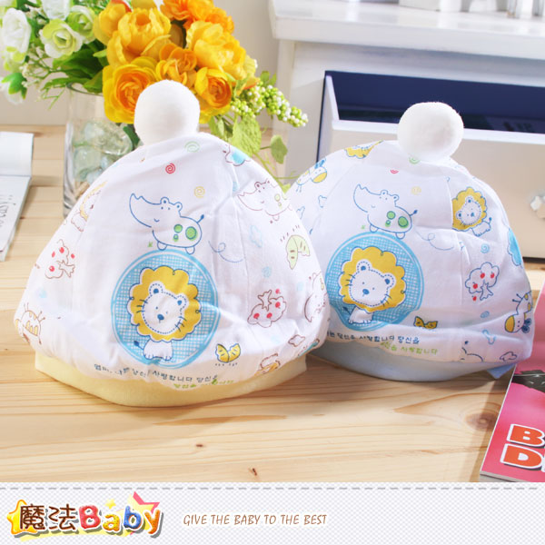 厚鋪棉極保暖初生嬰兒帽(藍.黃) 魔法Baby~k37388