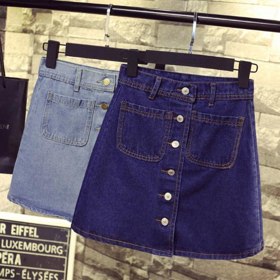 牛仔短裙 - 韓版高腰顯瘦五釦A字單寧短裙【23268】藍色巴黎《2色》現貨+預購