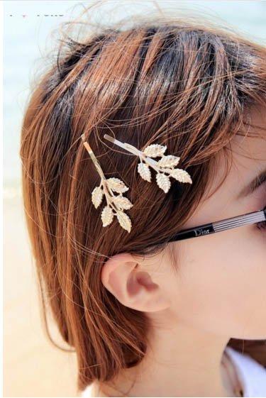 ★草魚妹★H539髮夾森林唯美新娘雅典娜橄欖樹枝葉造型一字髮夾瀏海夾髮飾頭飾,售價60元