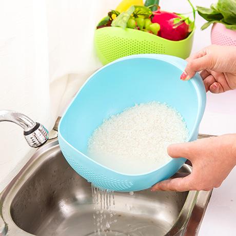 加厚底紋瀝水籃 洗菜籃 洗米籃 KC0422 【隨機出貨不挑色】
