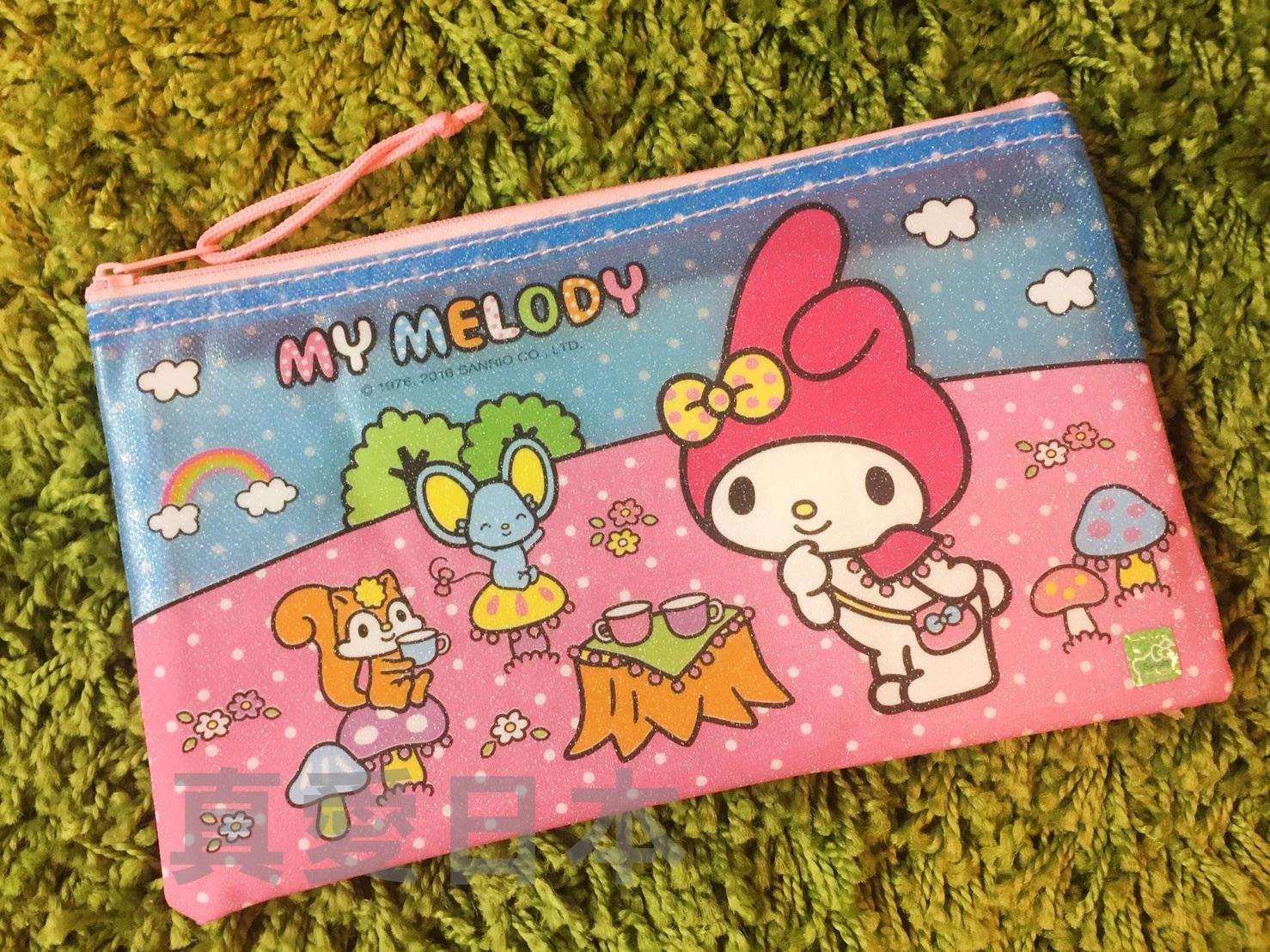 【真愛日本】16051000003 光膠拉鍊網狀收納袋-MM 三麗鷗家族 Melody 美樂蒂 文件袋 收納 文具