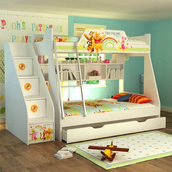 [首雅傢俬]迪士尼 維尼拼拼樂園 樓梯櫃 收納 儲物 上下舖專用櫃