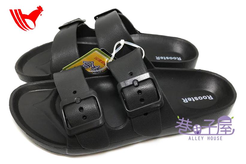 【巷子屋】ROOSTER公雞 男/女款漾彩時尚雙釦勃肯超輕拖鞋 [1383] 黑 超值價$198