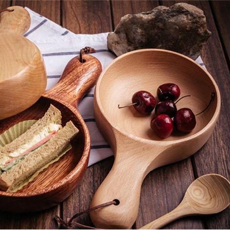 日式櫸木/海棠木長柄餐碗 沙拉碗