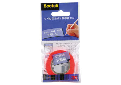【3M】Scotch 812O(橘) 可再貼螢光標示膠帶(補充包)